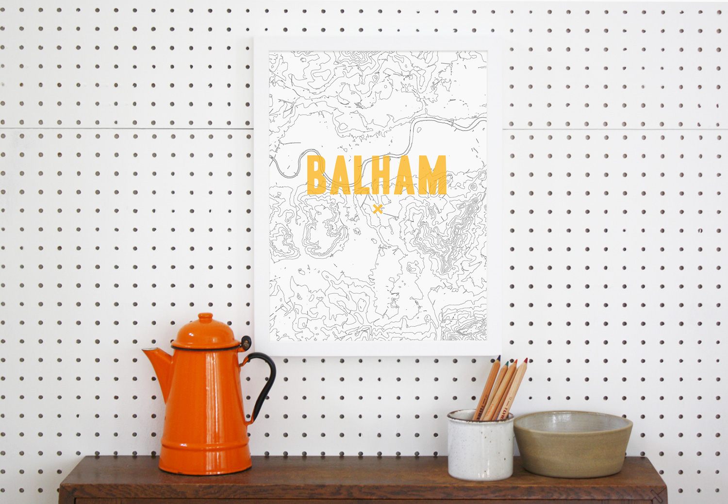 Place in Print Balham Contour Map Art Print Gold Lifestyle