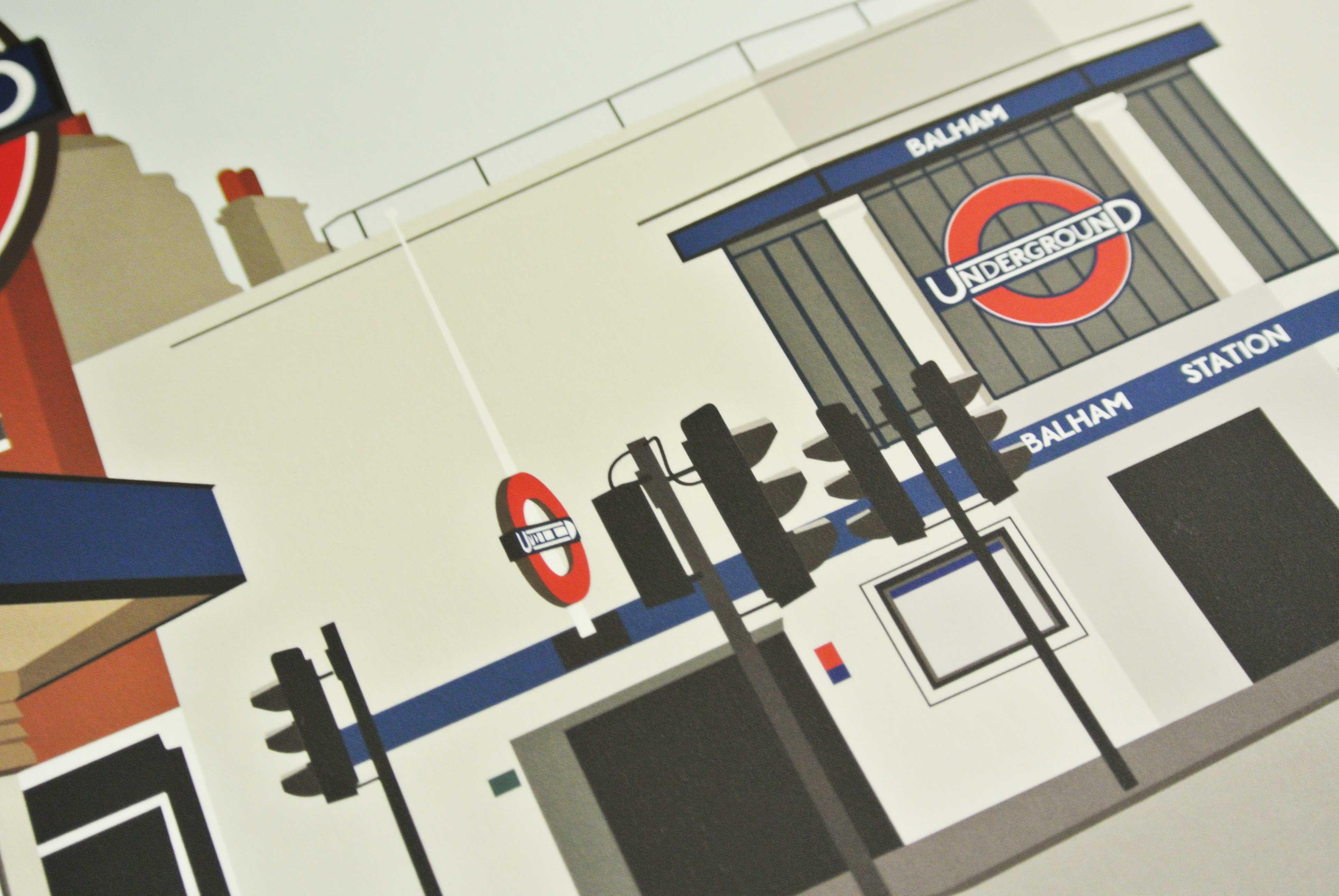 Balham Tube Underground Station Art Poster Print Close-up