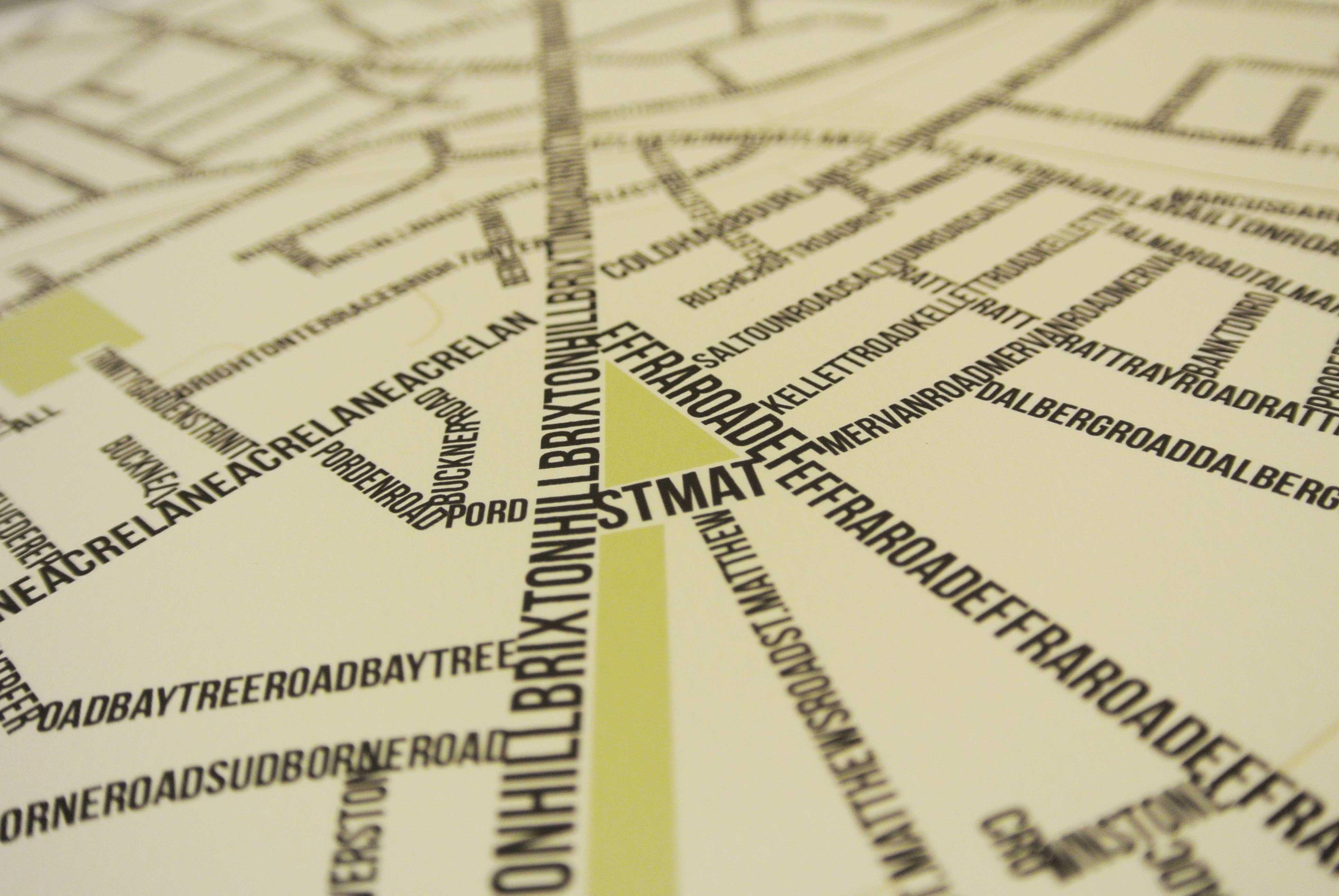 Brixton Street Typography Map Art Poster Print