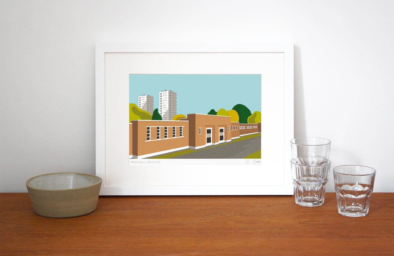 Brockwell Lido Flats Art Poster Print Lifestyle