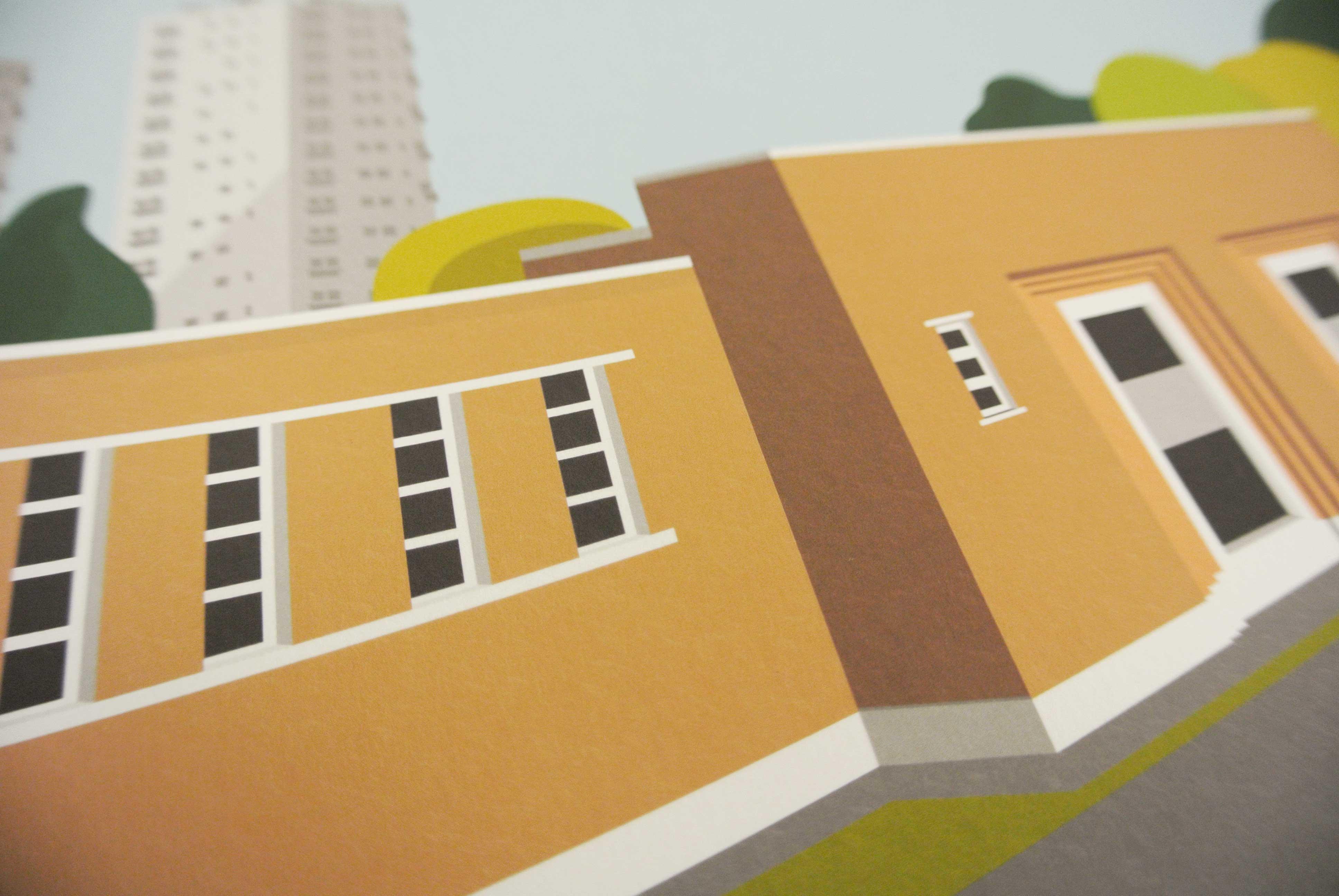 Brockwell Lido Flats Art Poster Print Detail