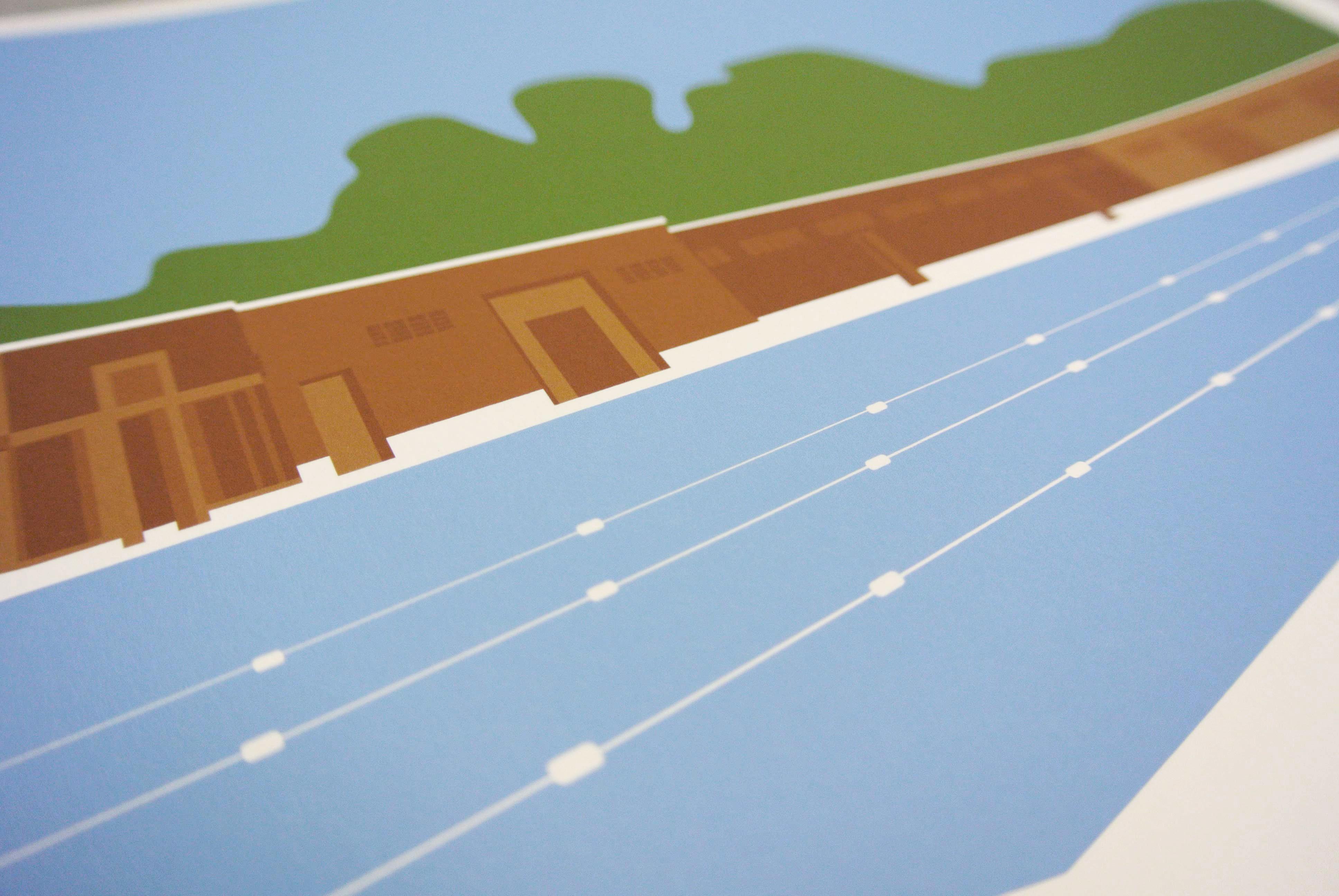 Brockwell Lido Redux Art Poster Print Detail