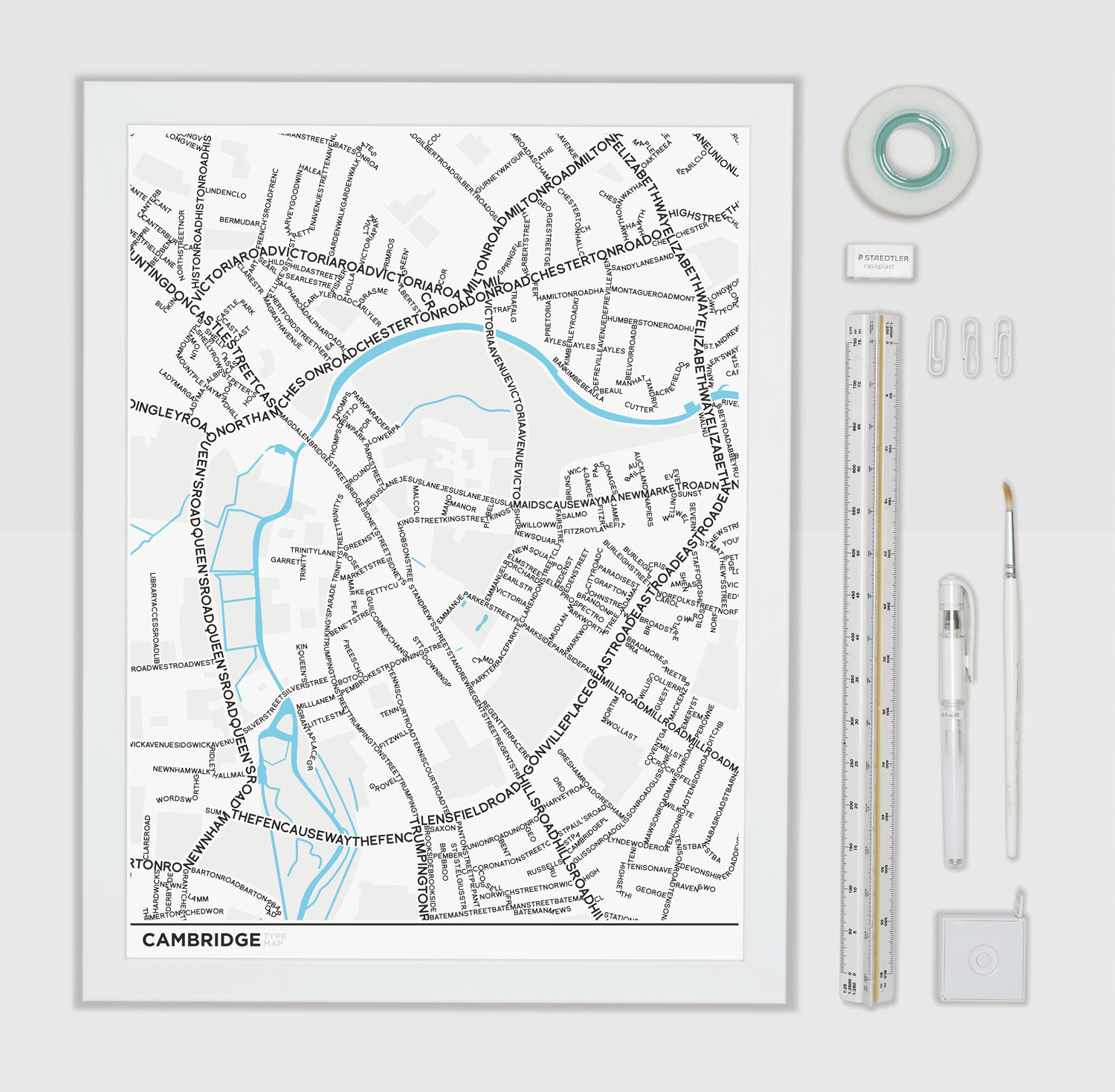 Place in Print Cambridge Type Typography Map Art Print Lifestyle