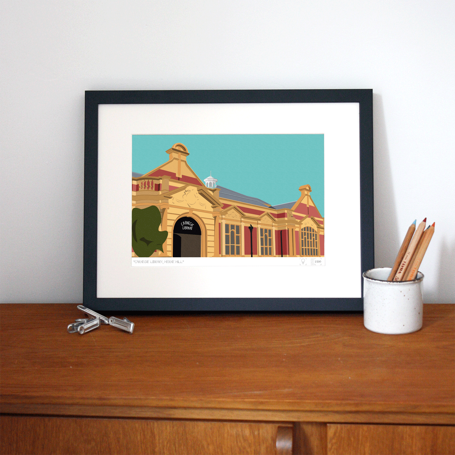Carnegie Library Herne Hill Art Poster Print Lifestyle