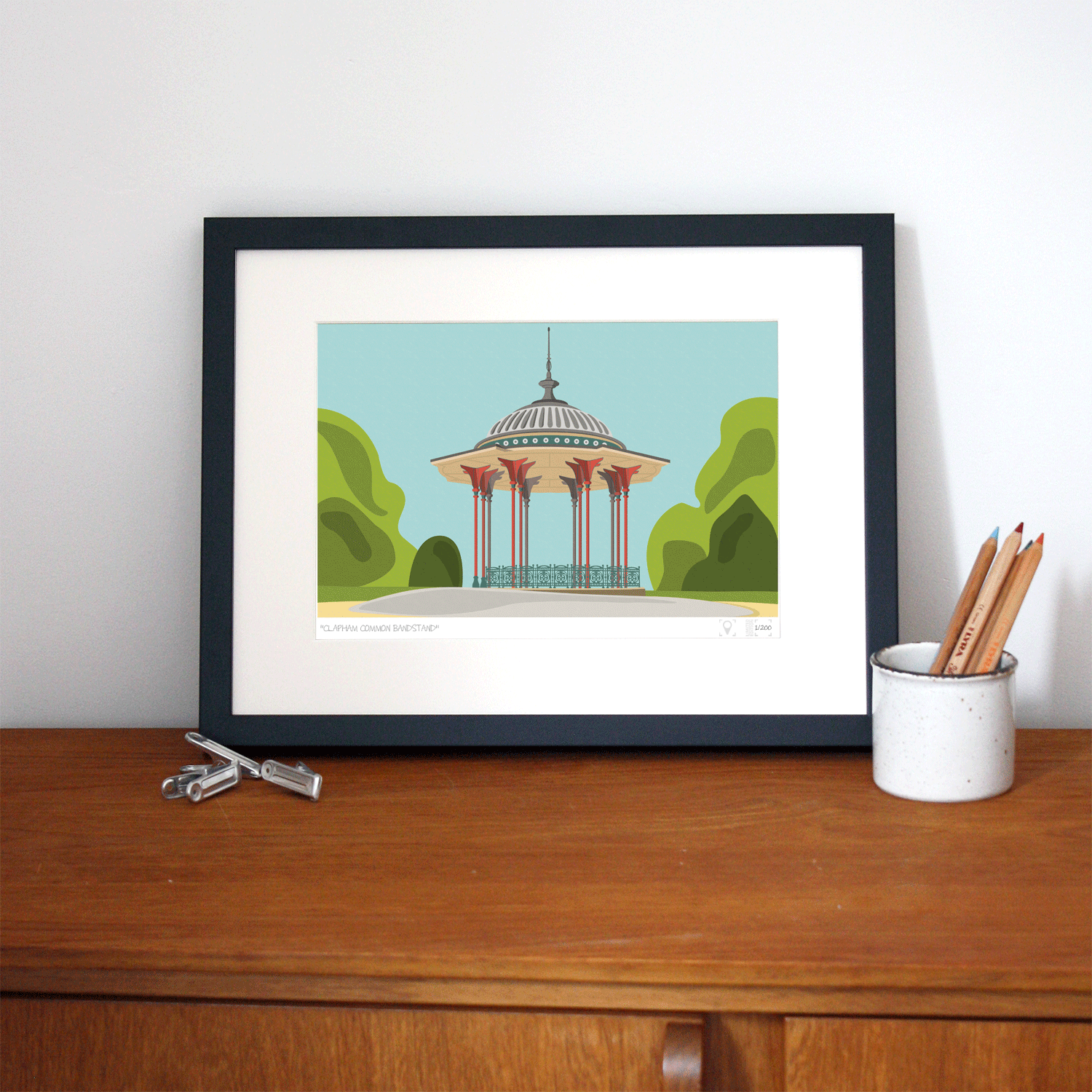 Place in Print South London Prints Clapham Common Bandstand Art Print Lifestyle