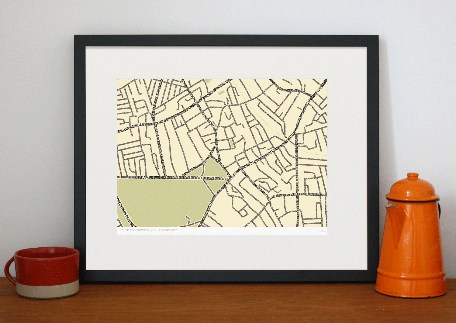 Place in Print South London Prints Clapham Common Street Typography Typographic Map Art Print Lifestyle