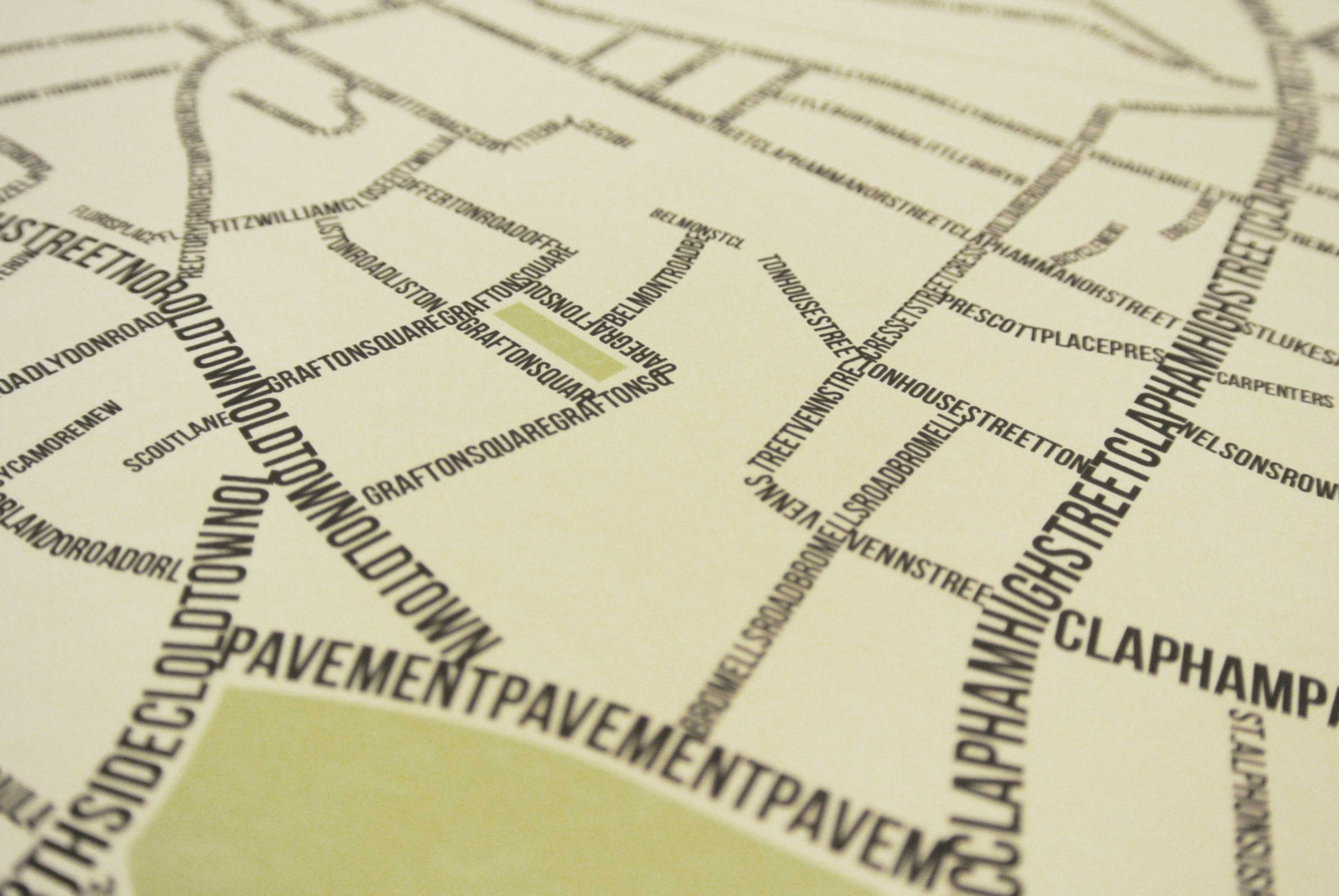 Place in Print South London Prints Clapham Common Street Typography Typographic Map Art Print Photo