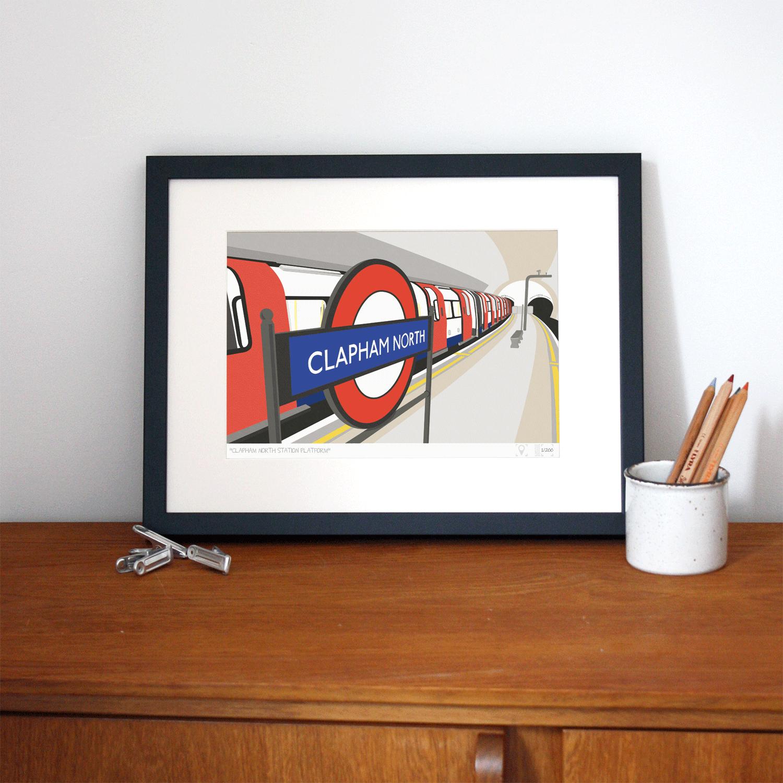 Place in Print South London Prints Clapham North Station Platform Art Print Lifestyle
