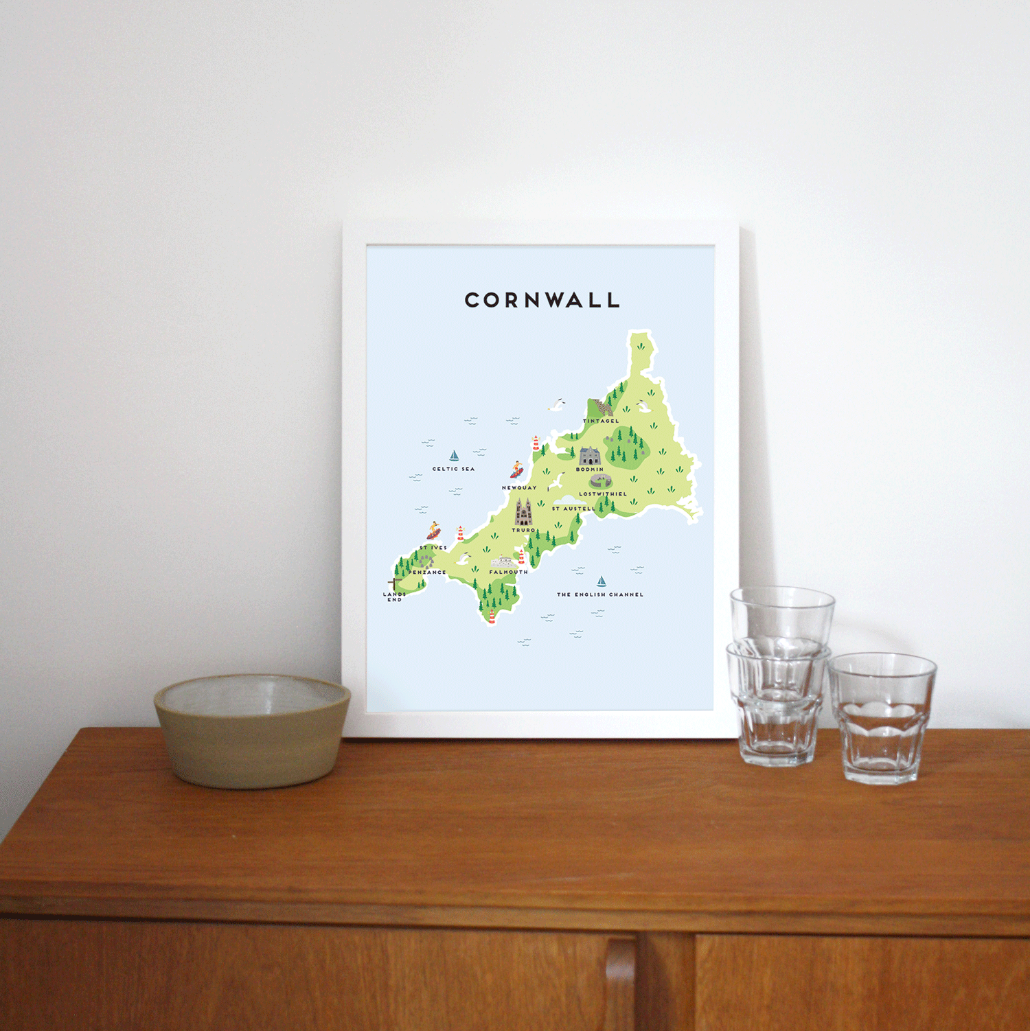 Place in Print Pepper Pot Studios Cornwall Illustrated Map Art Print Lifestyle