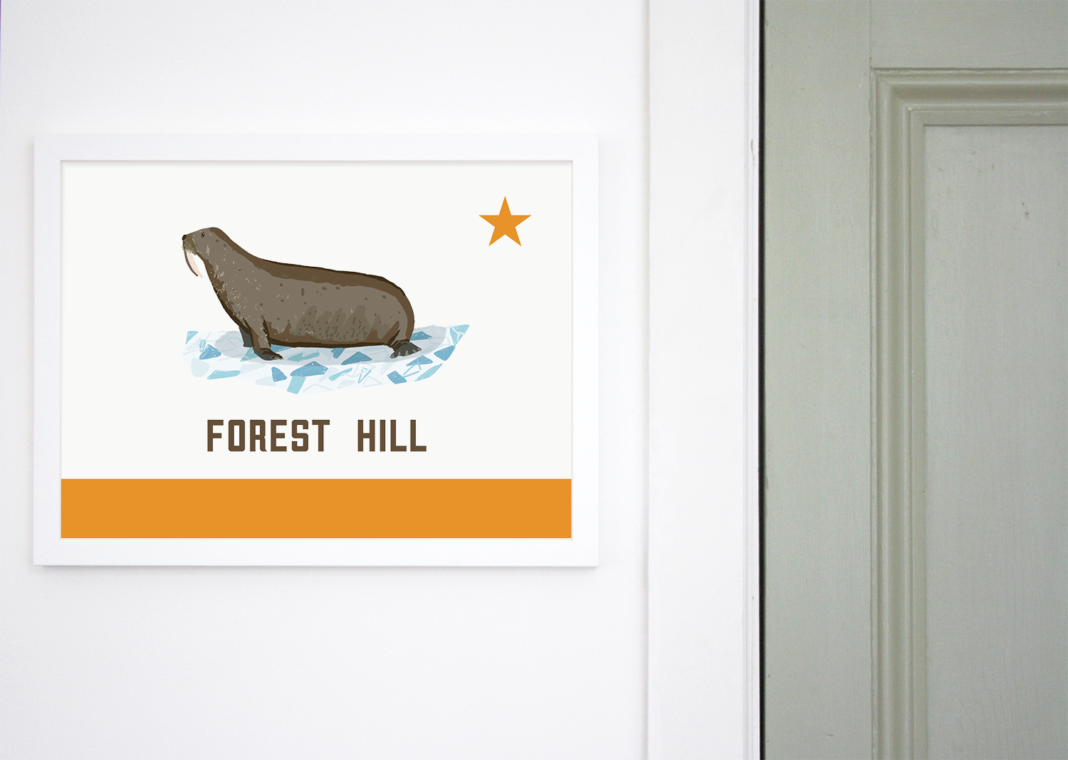 Place in Print Forest Hill Walrus Flag Art Print Lifestyle