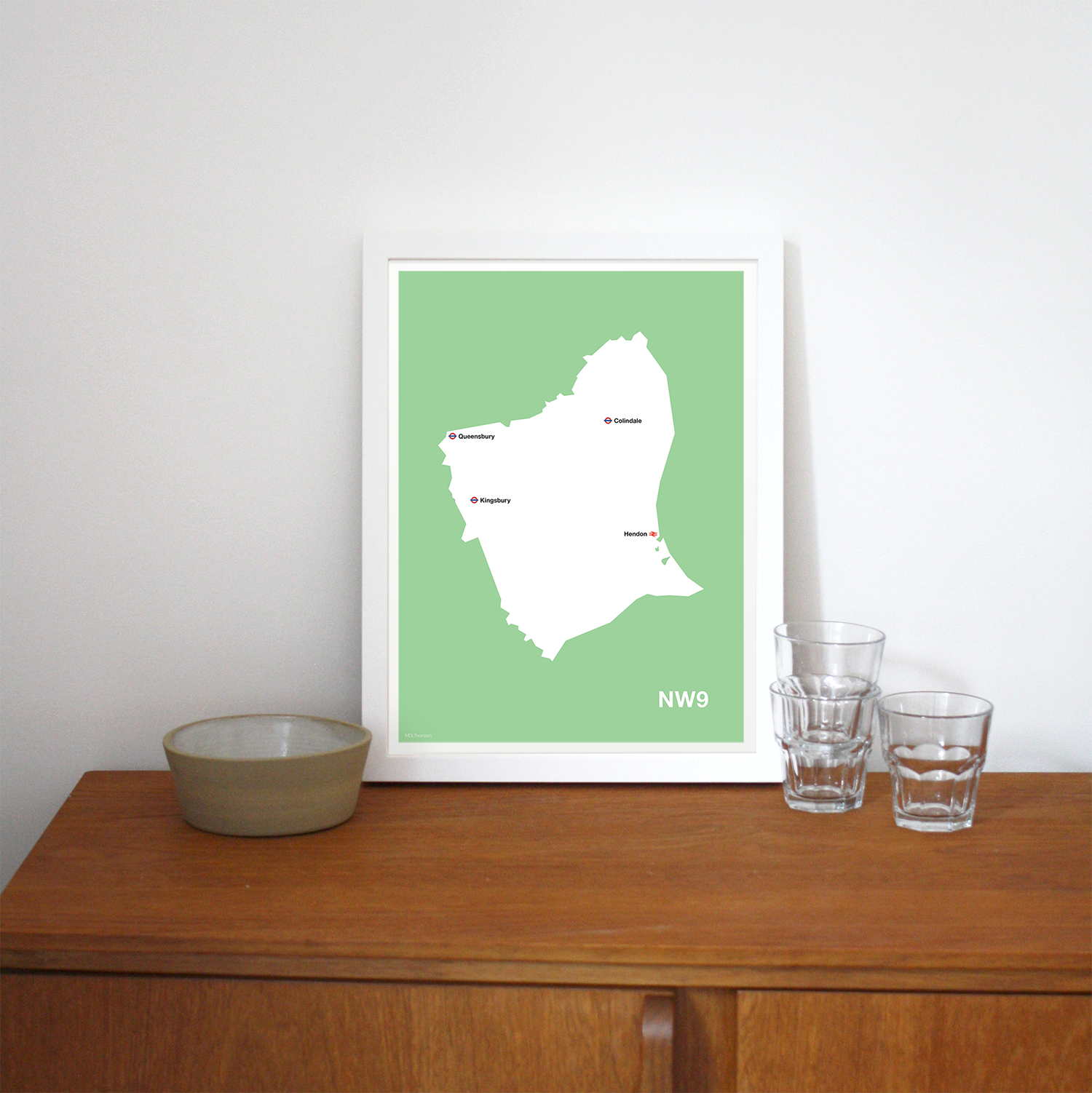 Place in Print MDLThomson NW9 Postcode Map Art Print Lifestyle
