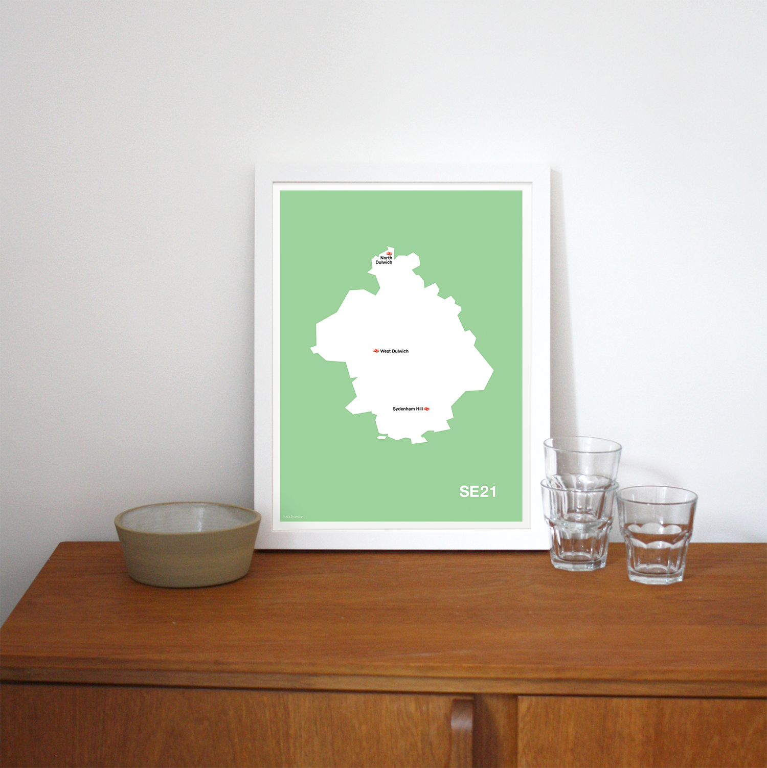 Place in Print MDLThomson SE21 Postcode Map Art Print Lifestyle