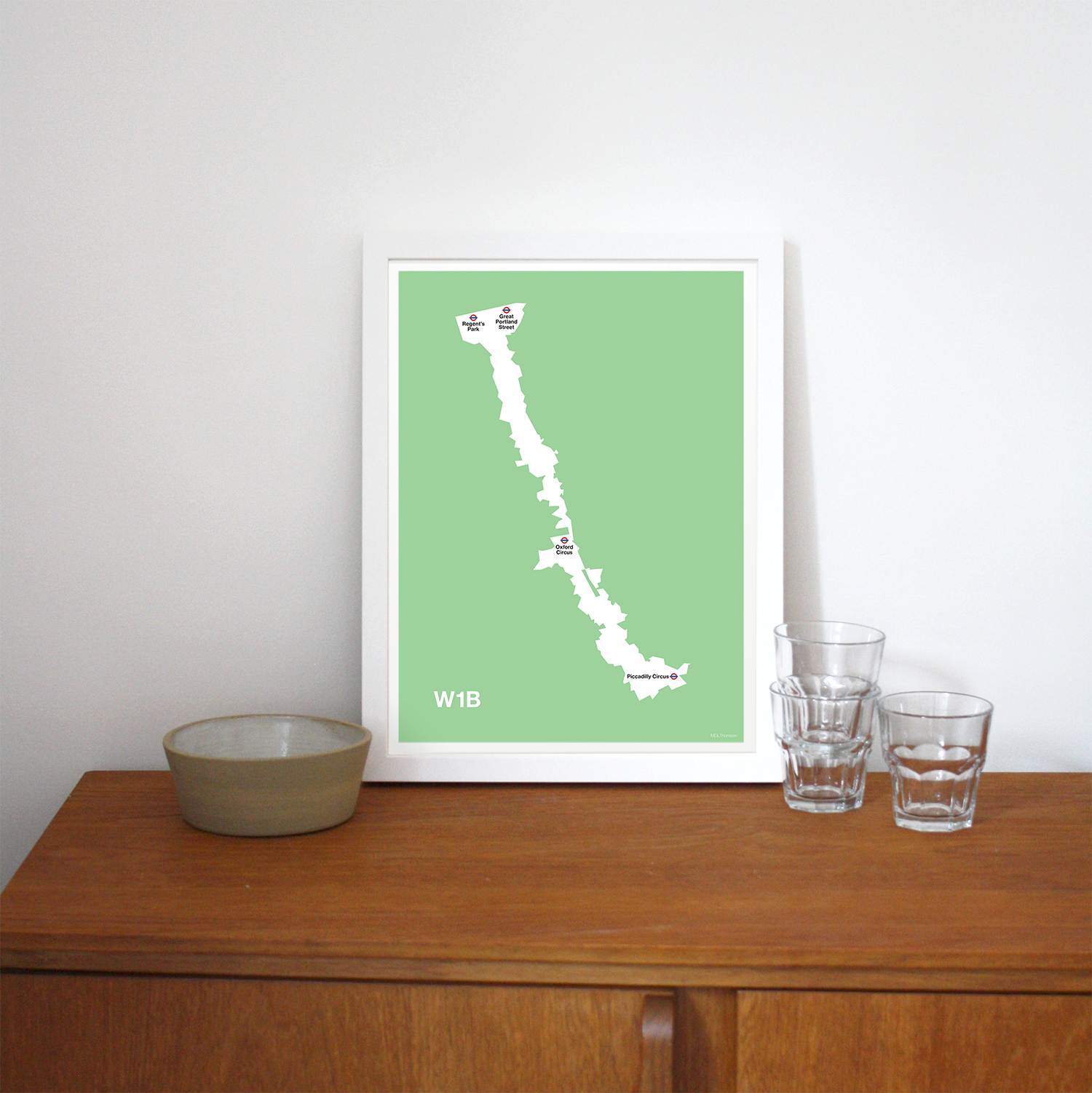 Place in Print MDLThomson W1B Postcode Map Art Print Lifestyle