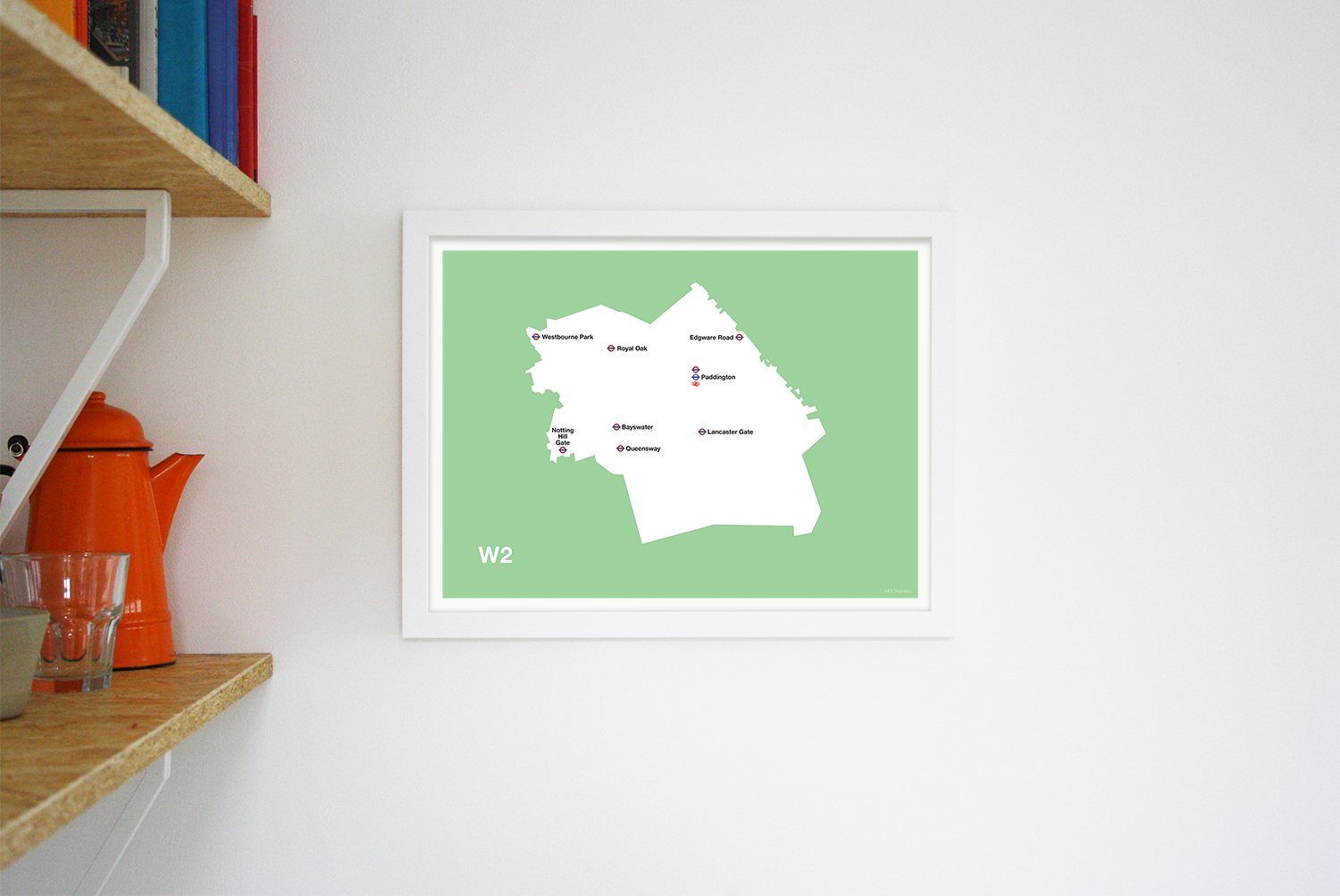 Place in Print MDLThomson W2 Postcode Map Art Print Lifestyle