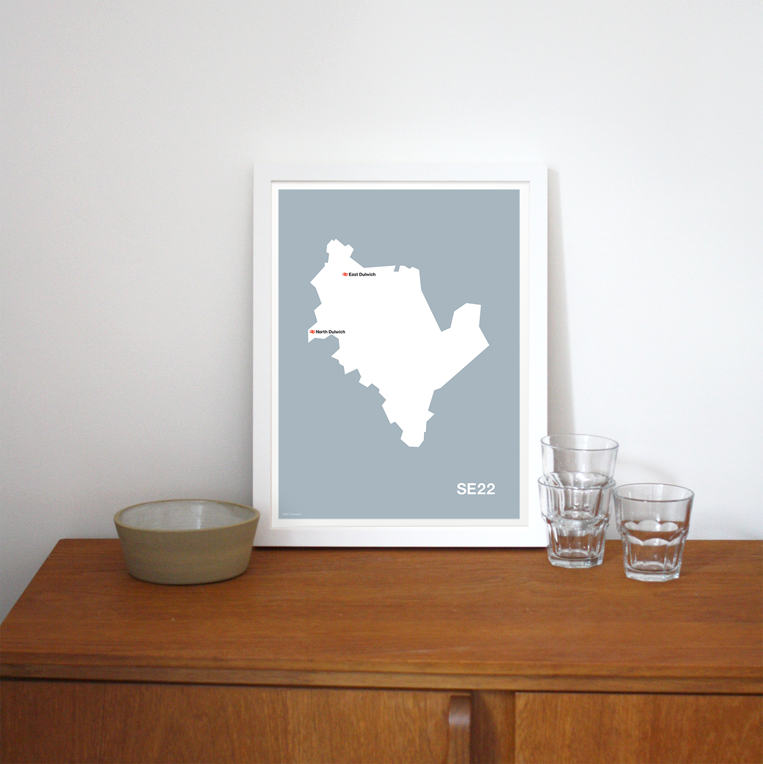 Place in Print MDLThomson SE22 Postcode Map Art Print Lifestyle