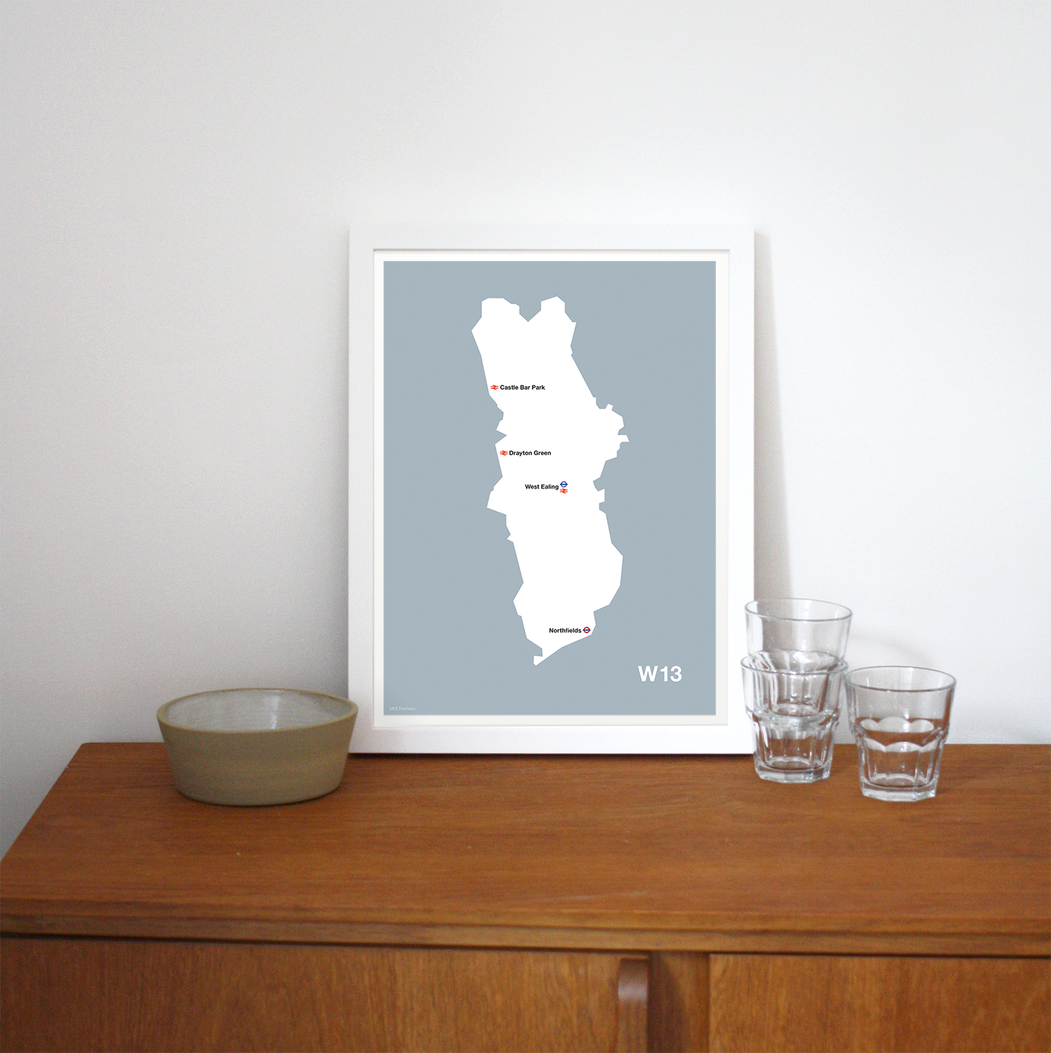Place in Print MDLThomson W13 Postcode Map Art Print Lifestyle