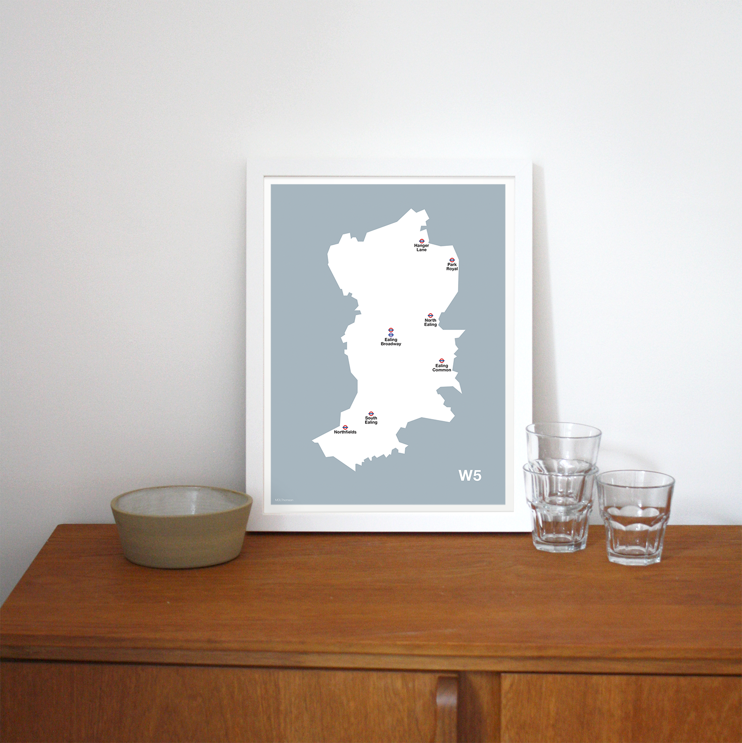 Place in Print MDLThomson W5 Postcode Map Art Print Lifestyle