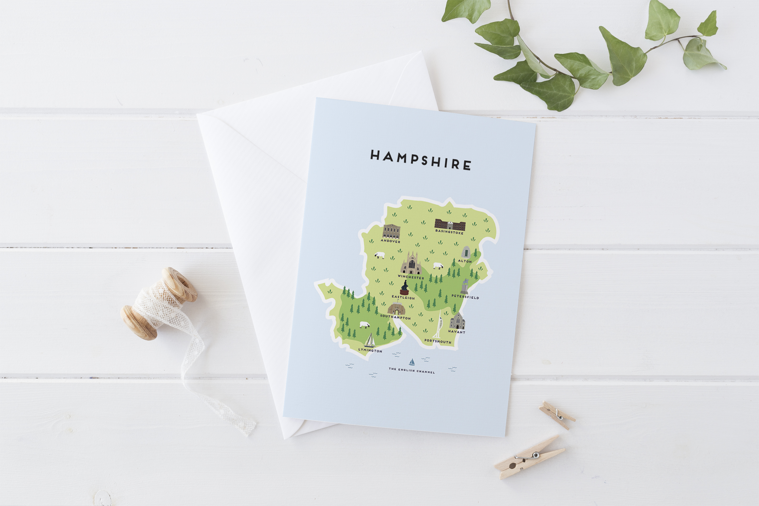 Place in Print Pepper Pot Studios Hampshire Illustrated Map Greetings Card