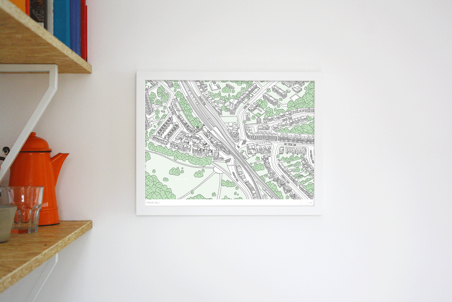 Place in Print Herne Hill Illustrated Map Art Poster Print Lifestyle