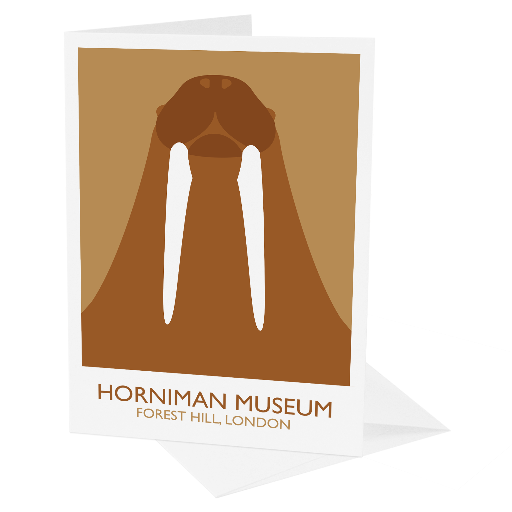 South London Prints Horniman Museum Walrus Greetings Card