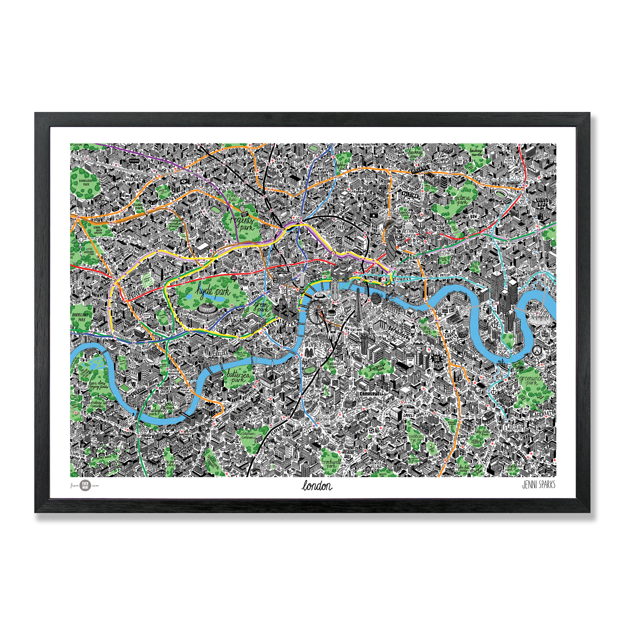 Hand Drawn London Map Giclee Art Print London Art Prints