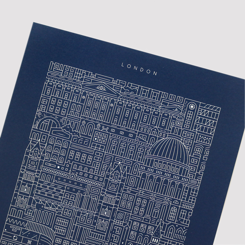 Place in Print The City Works London Blueprint Art Print Front