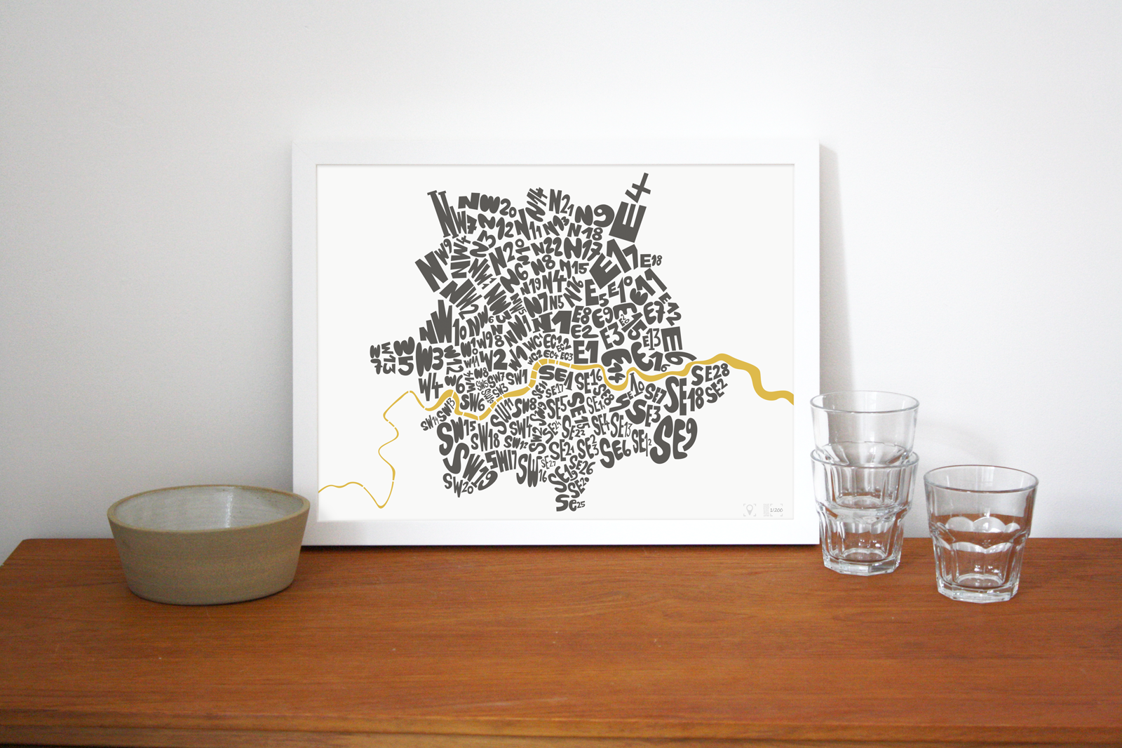 Place in Print London Postcodes Black Gold Art Poster Print Lifestyle