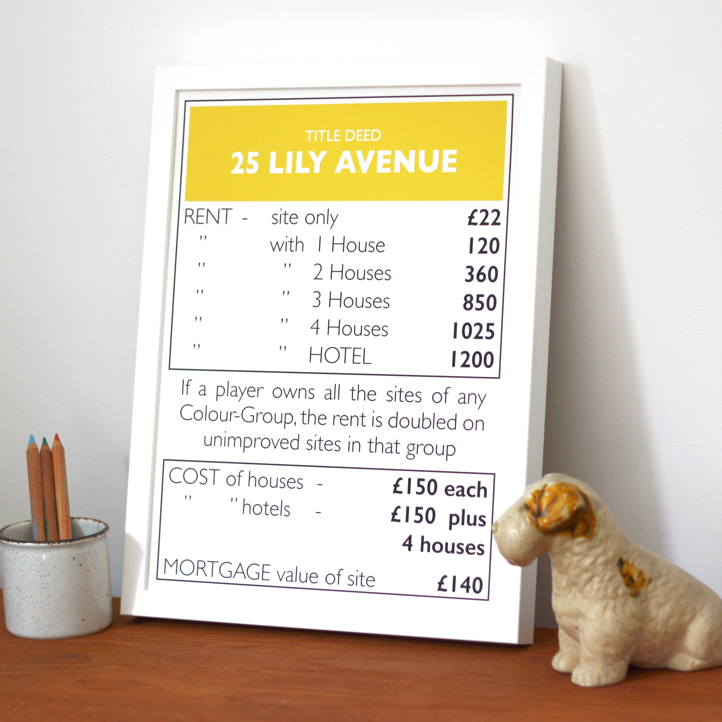 Place in Print Personalised Monopoly Property Title Deed Art Poster Print Lifestyle