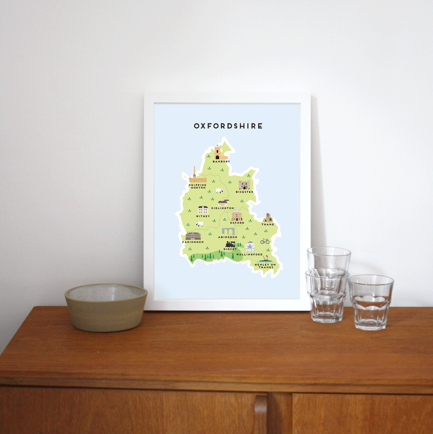 Place in Print Pepper Pot Studios Oxfordshire Illustrated Map Art Print Lifestyle