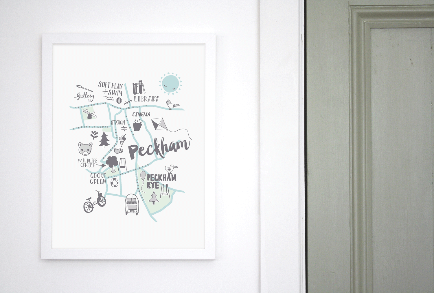 Place in Print Small Dots Peckham Kids Childs Map Art Print Lifestyle