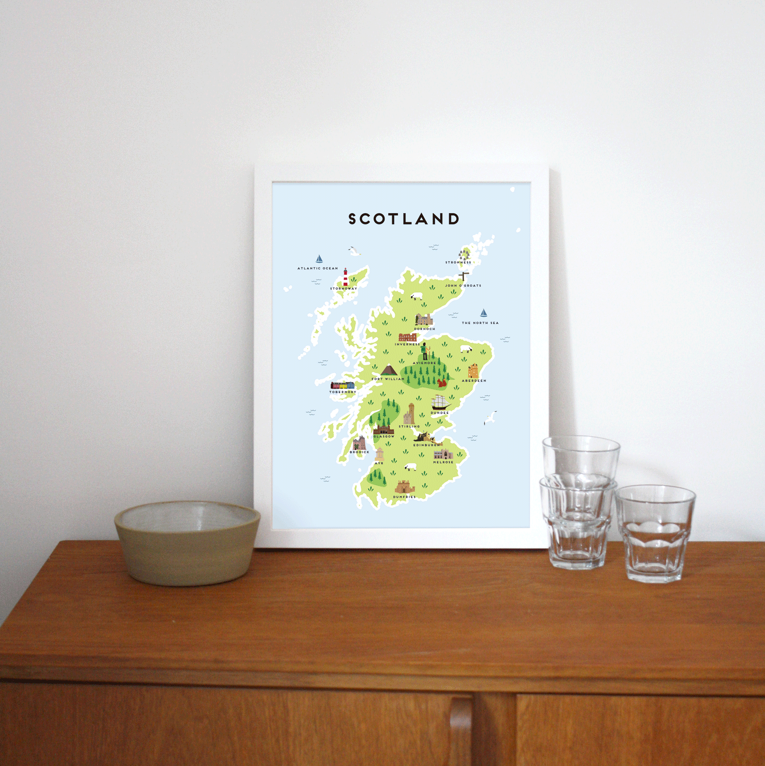 Place in Print Pepper Pot Studios Scotland Illustrated Map Art Print Lifestyle