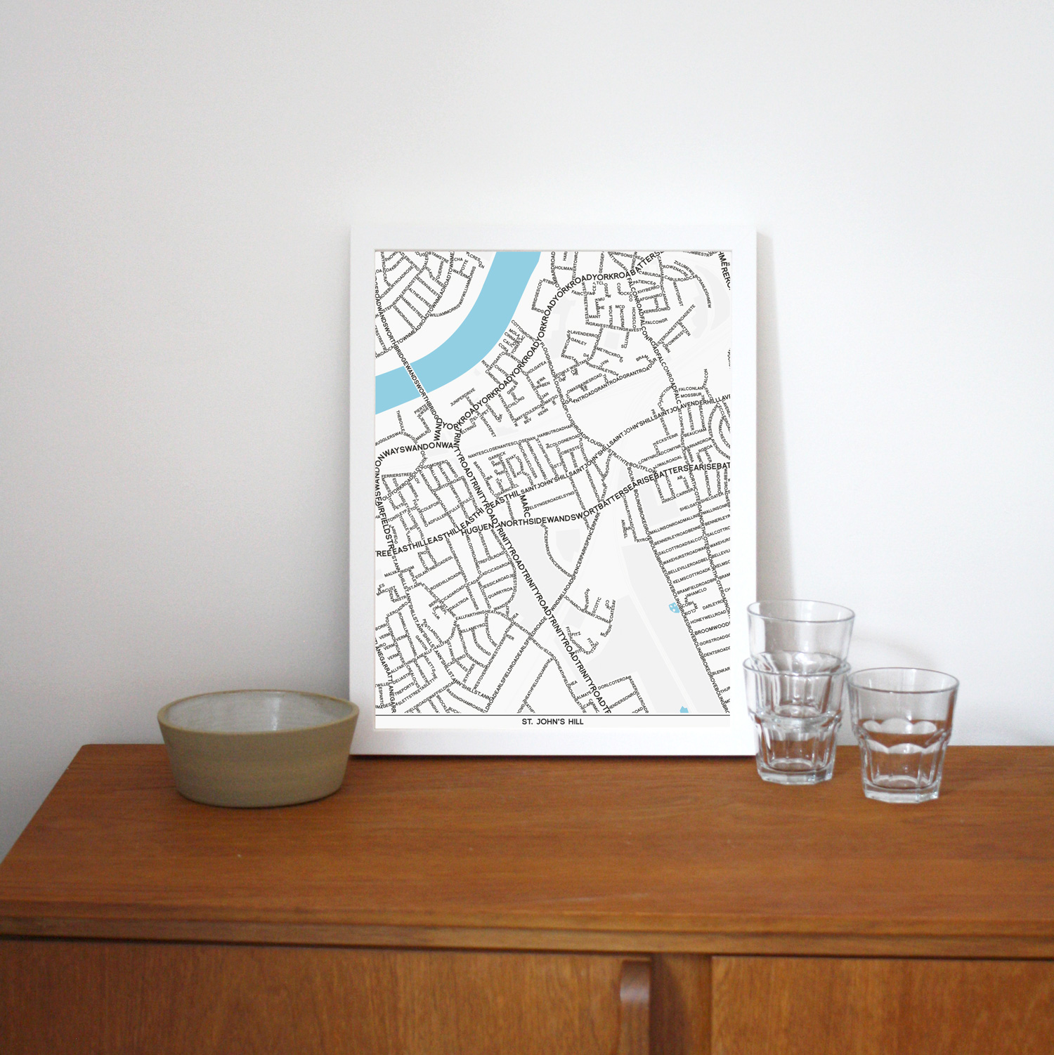 Place in Print St Johns Hill Typographic Map Art Poster Print Lifestyle