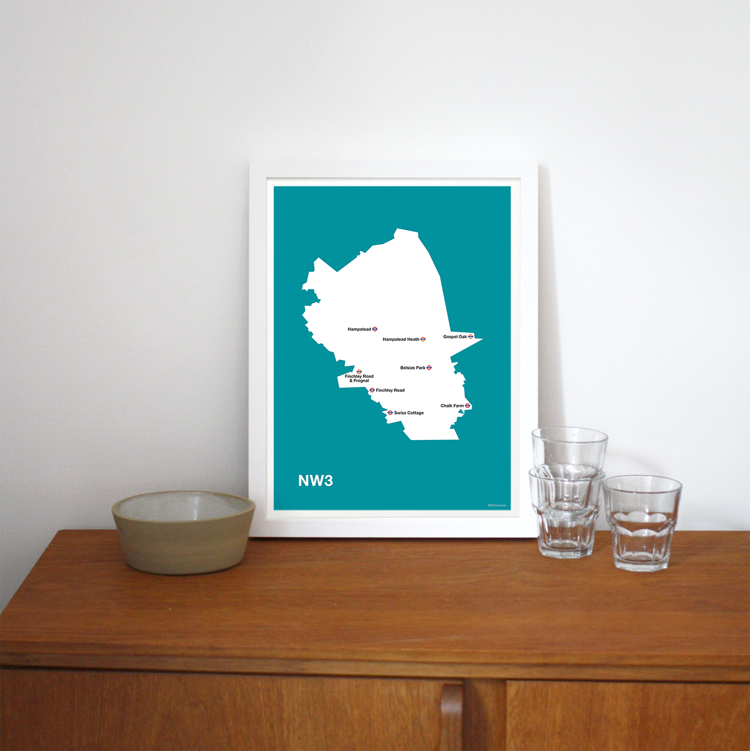 Place in Print MDLThomson NW3 Postcode Map Art Print Lifestyle
