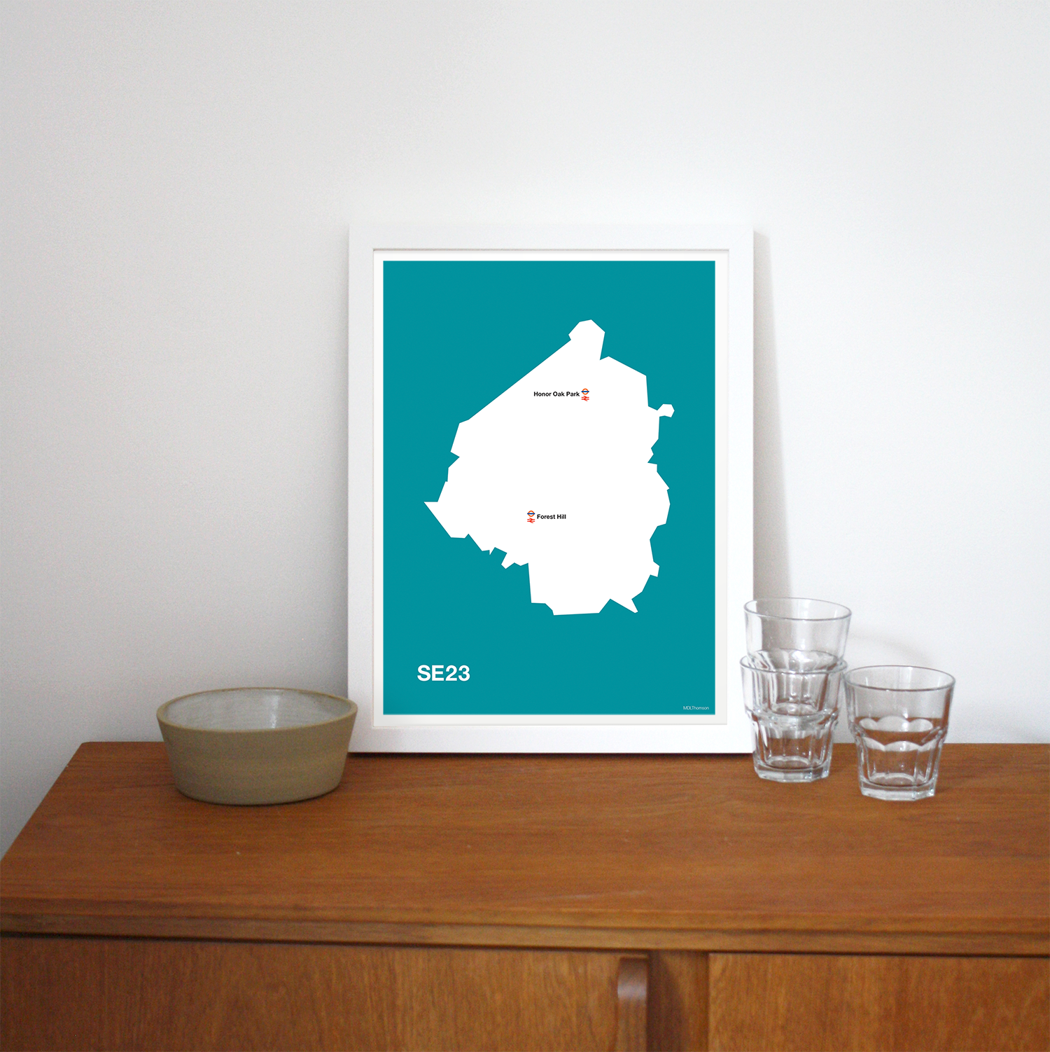 Place in Print MDLThomson SE23 Postcode Map Art Print Lifestyle