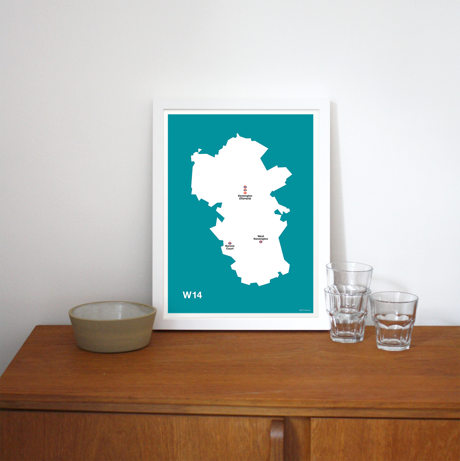 Place in Print MDLThomson W14 Postcode Map Art Print Lifestyle