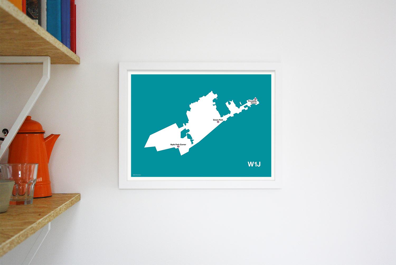 Place in Print MDLThomson W1J Postcode Map Art Print Lifestyle