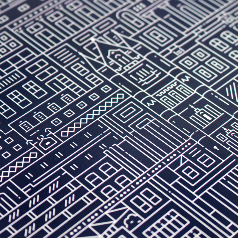 Place in Print The City Works London Blueprint Art Print Detail