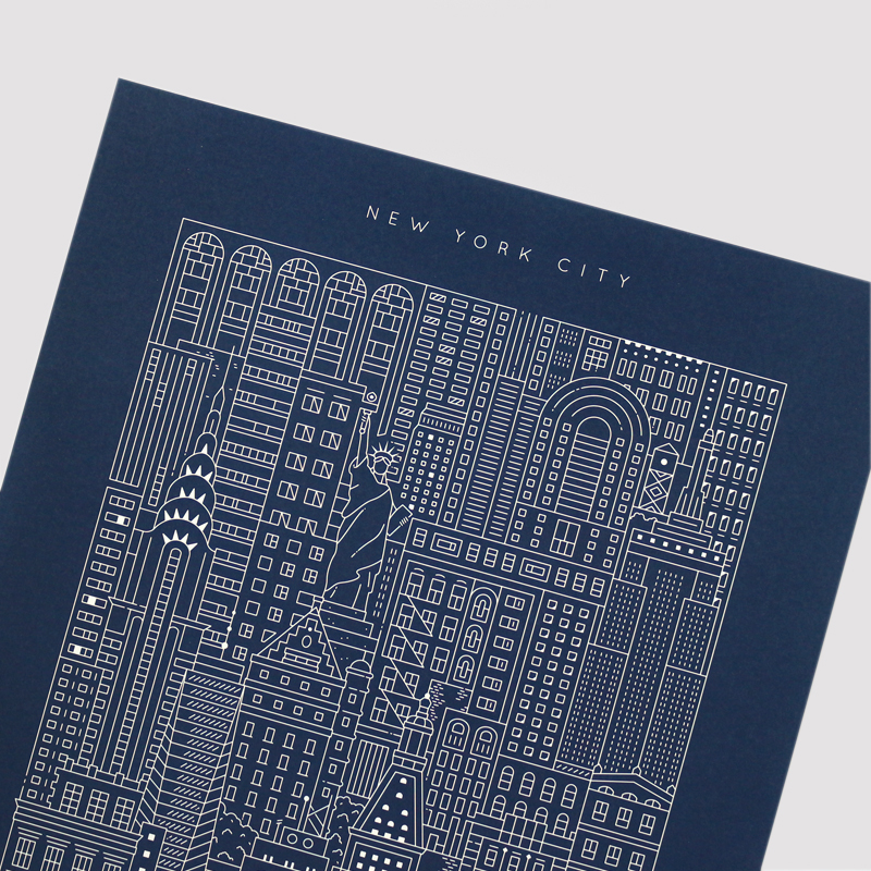 Place in Print The City Works New York Blueprint Art Print Front
