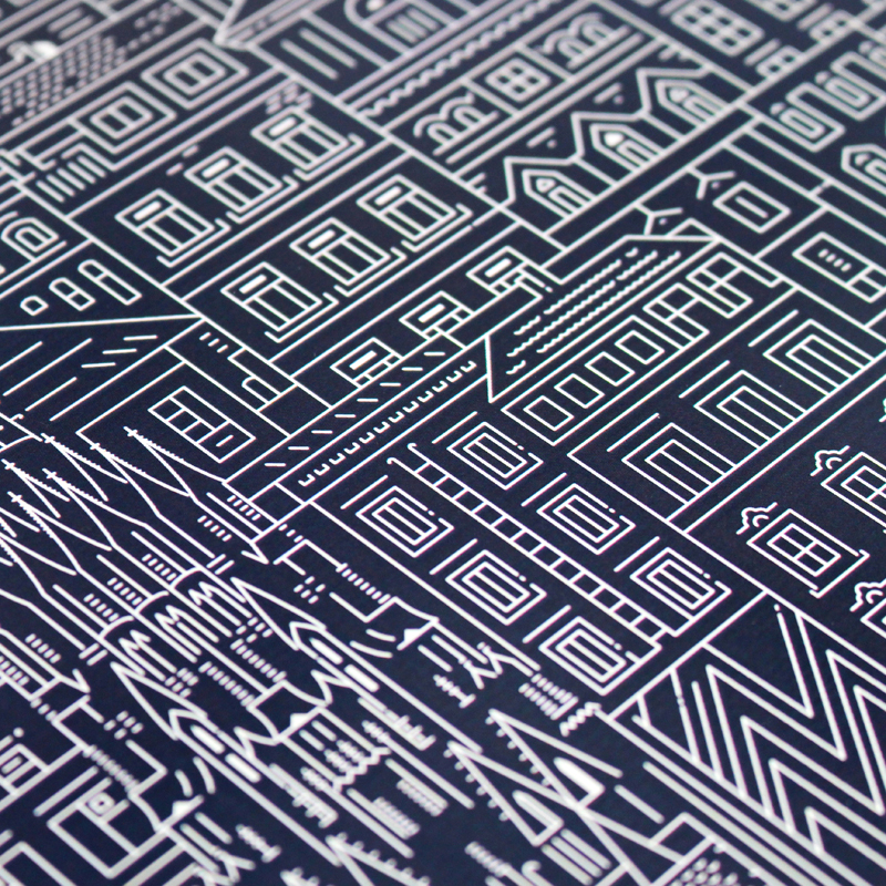 Place in Print The City Works Vienna Blueprint Art Print Detail