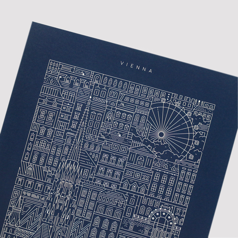 Place in Print The City Works Vienna Blueprint Art Print Front