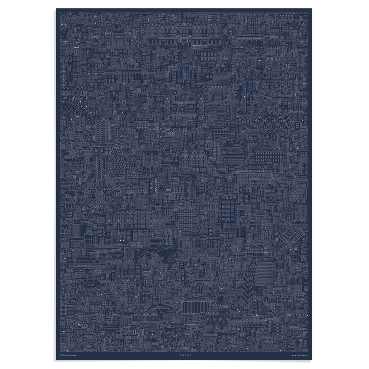 London cityscape blueprint central london art prints place in place in print the city works london cityscape blueprint art print unframed malvernweather Image collections