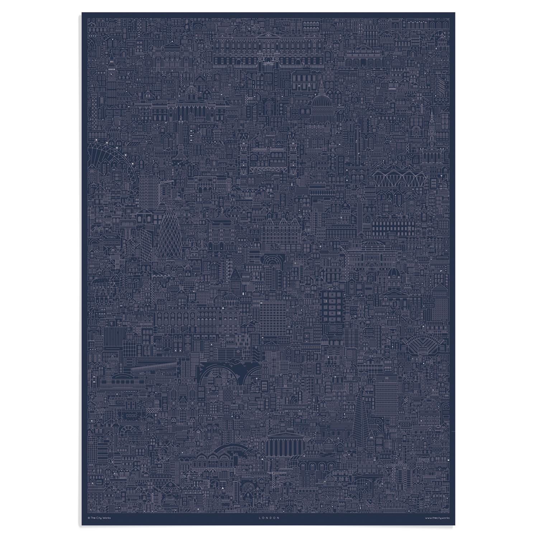 London cityscape blueprint central london art prints place in print place in print the city works london cityscape blueprint art print unframed malvernweather Choice Image