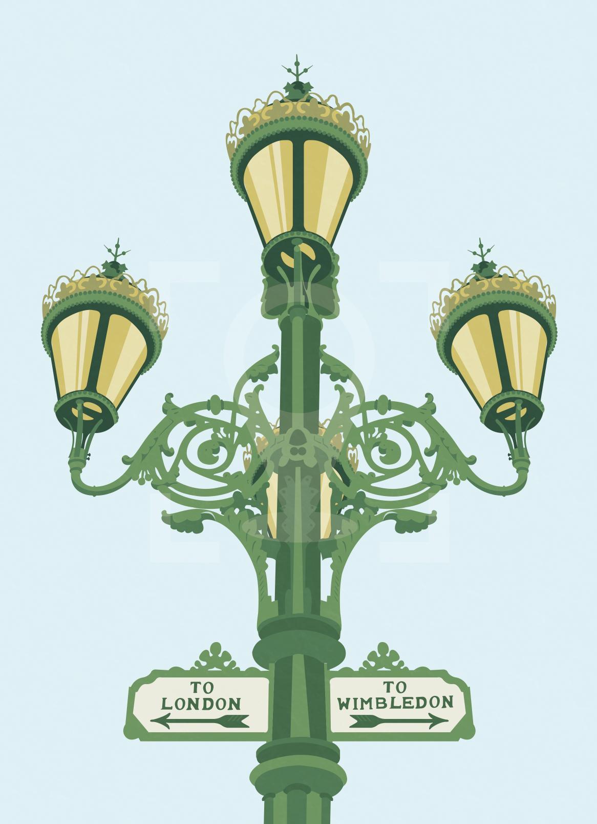 Tooting Broadway Lamppost Sign Art Poster Print