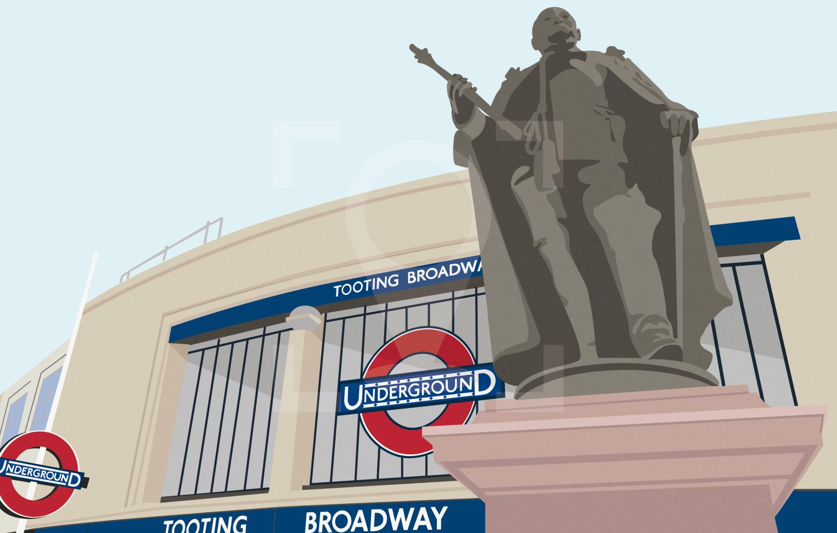Tooting Broadway Edward VII Art Poster Print