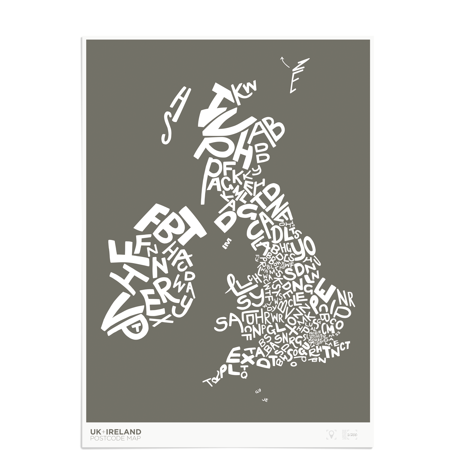 Place in Print UK Ireland Postcodes Map Art Poster Print Grey