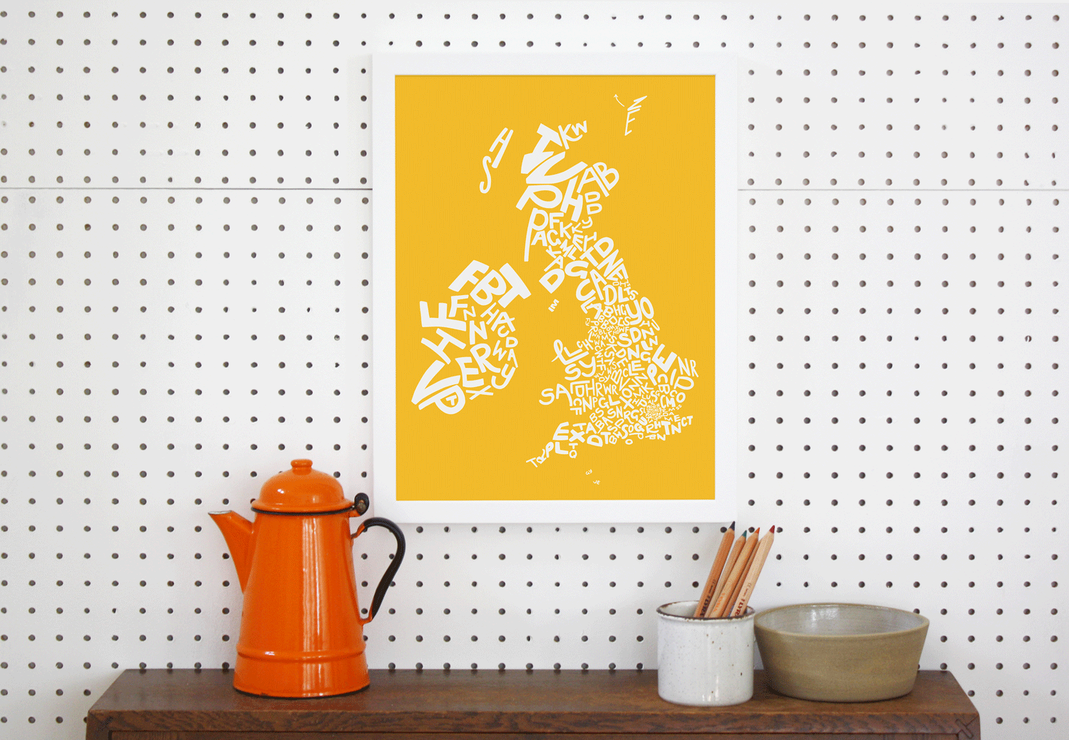 Place in Print UK Ireland Postcodes Map Art Poster Print Yellow Lifestyle