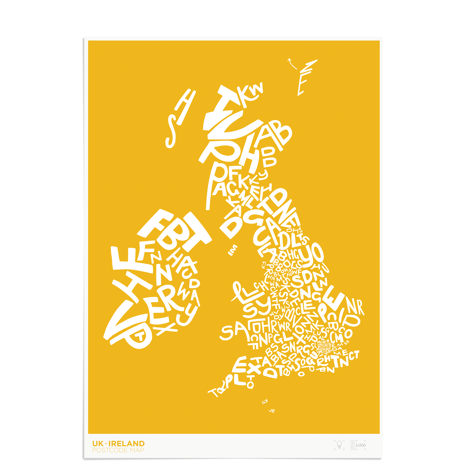 Place in Print UK Ireland Postcodes Map Art Poster Print Yellow