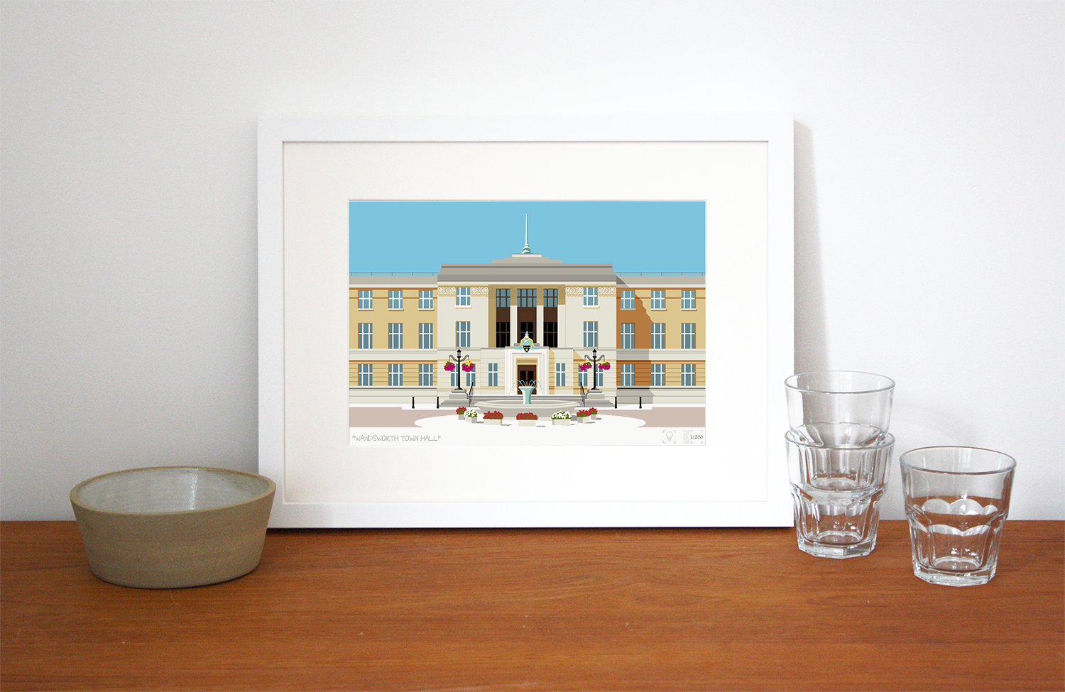 Place in Print Wandsworth Town Hall Landmark Art Print Lifestyle