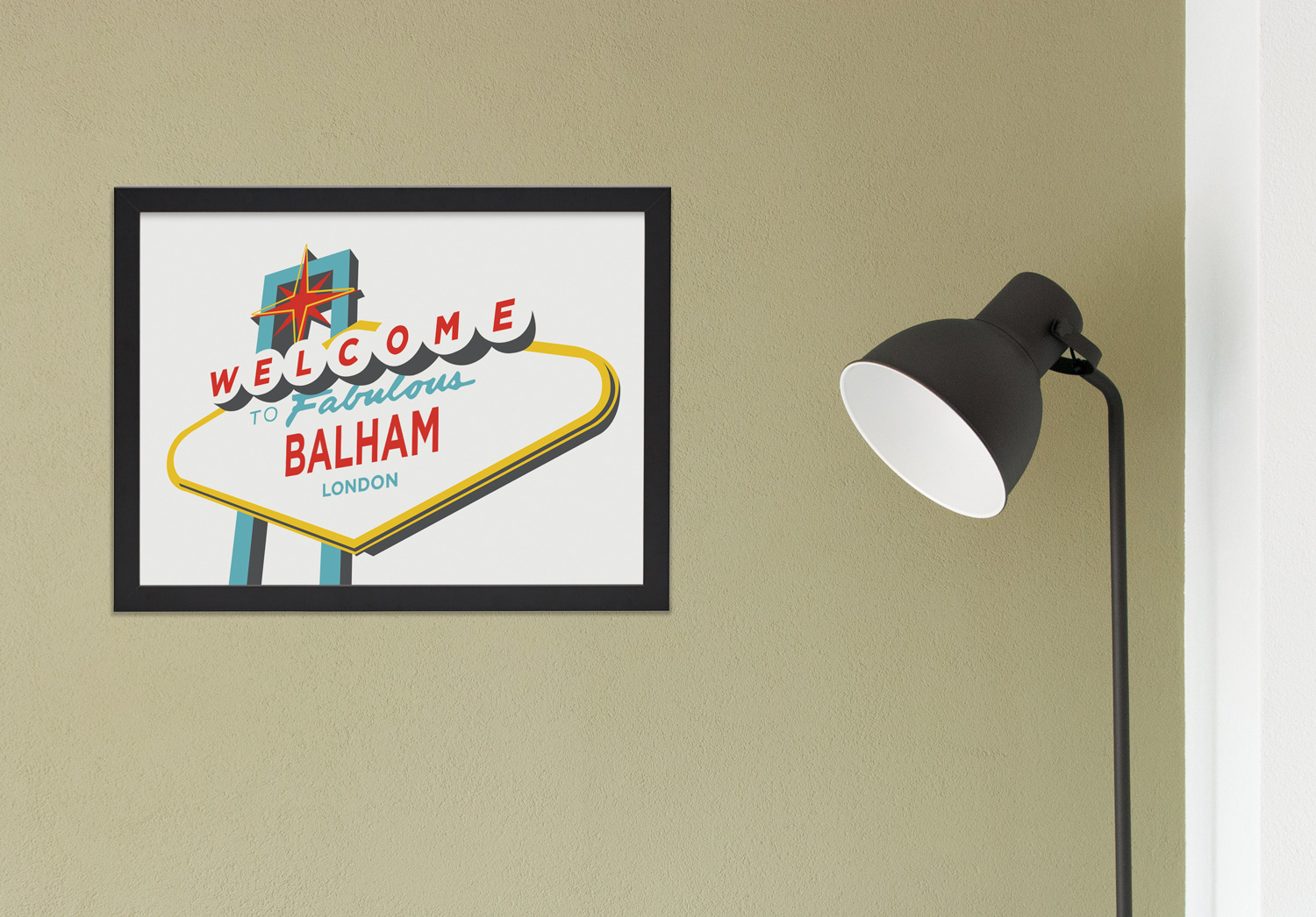 Place in Print Welcome to Balham Vegas Sign Art Print Lifestyle