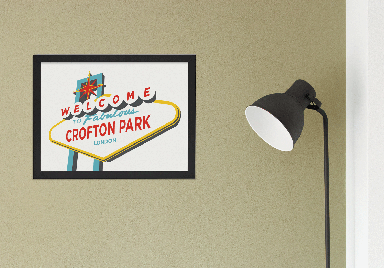 Place in Print Welcome to Fabulous Crofton Park Vegas Sign Art Print Lifestyle